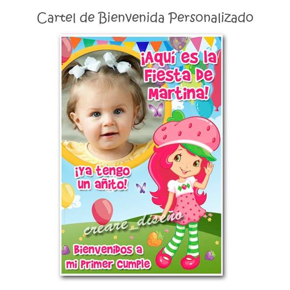 Promo Invitaciones Infantiles Cartel Bienvenida Frutillita