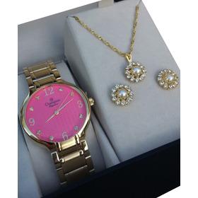Promo Kit Relógio Cn26831j Champion Dourado Feminino Fgratis