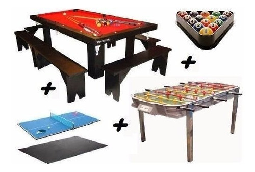 promo mesa de pool 180 + metegol + ping pong + kits + bancos