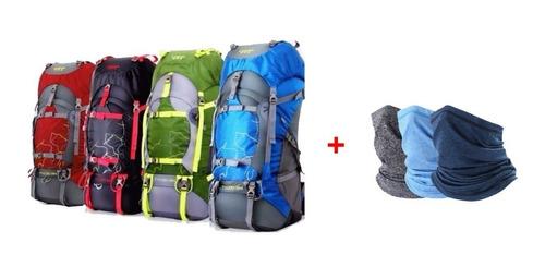 promo mochila camping 50+5 l outdoor + bandanas trekking