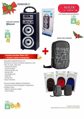 promo navidad parlante bluetooth karaoke + bolso camara