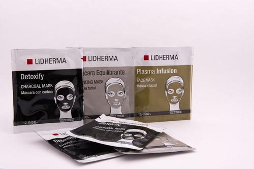 promo trío máscaras lidherma: detoxify, plasma, equilibrante