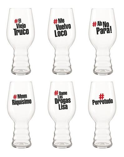 promo vaso cervecero: copa ipa hashtags 473 ml - pack x 6
