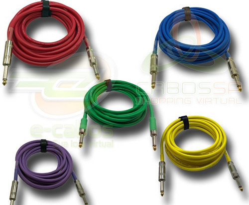 promoçao 5 cabos de instrumento colo p10 5 metros 100% cobre