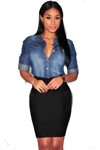 promocao camisa blusa feminina jeans degrade casual p/entreg