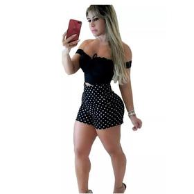 Promoção Conjunto Short Feminino Cós Alto E Cropped Poa