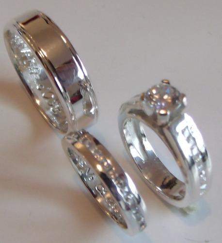 promocion argollas matrimonio plata 950 rodinada x3 anillos