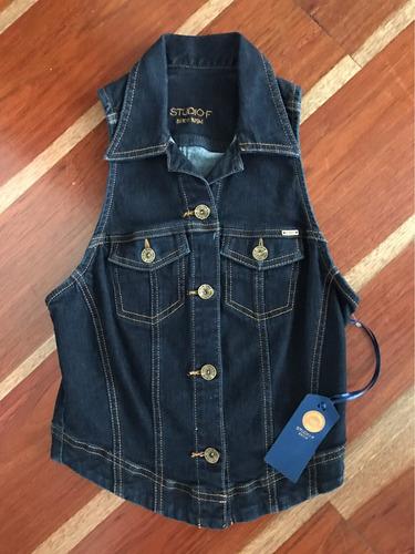 promocion chaleco en jean azul oscuro studio f