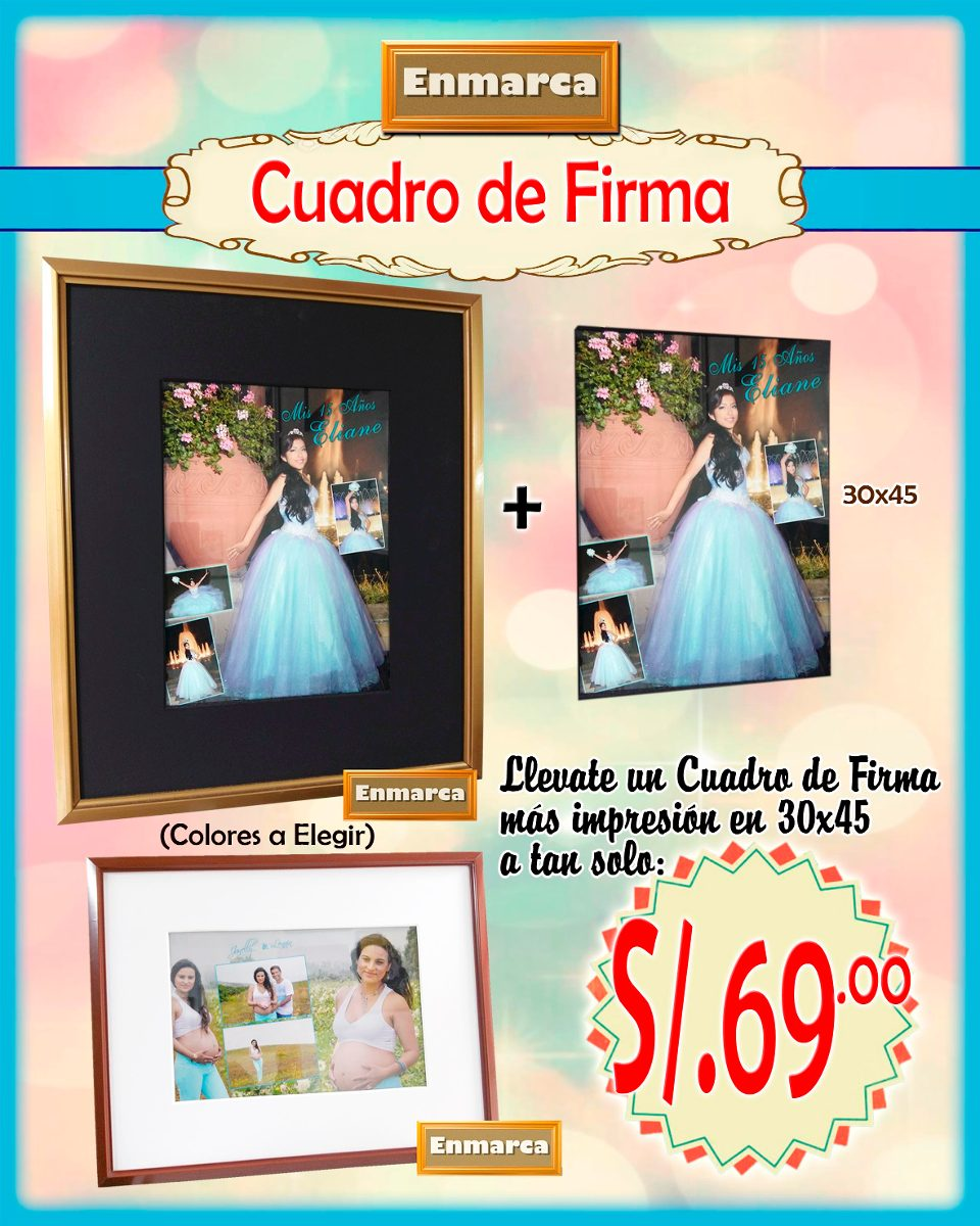 Promoción Cuadro De Firma + Impresión 30x45 - S/ 69,00 en Mercado Libre