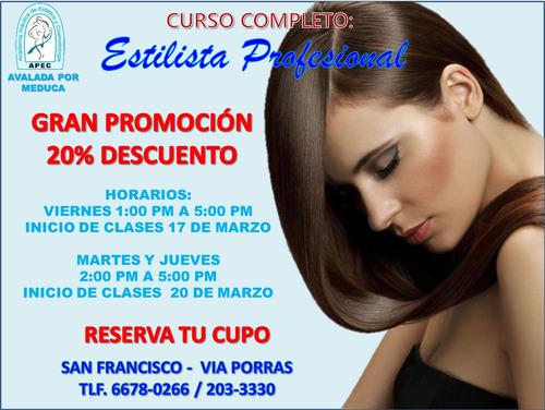 promoción curso de estilista profesional cert. por meduca