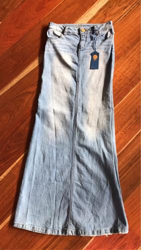 promoción falda larga en jean studio f con abertura
