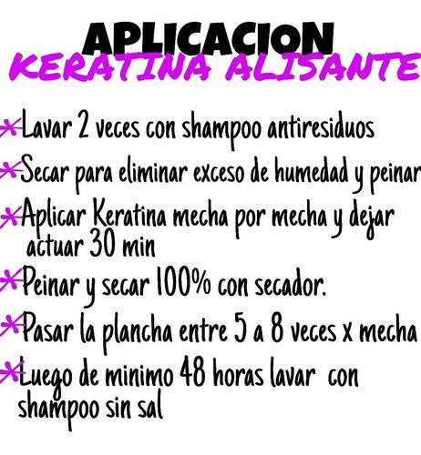 promoción keratina alisante litro + shampoo. con envío