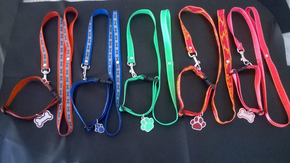 Promocion kit para perro collar correa placa marcada for Como hacer un collar para perro