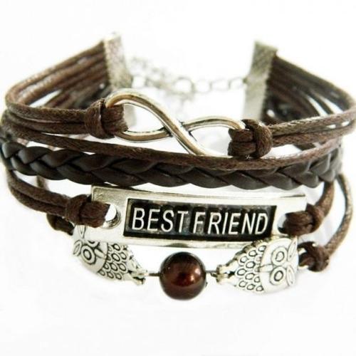promoción pulsera ancla cuero vintage best friend infinito