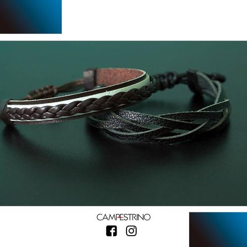 promoção 2 pulseiras couro sobre couro e trançada