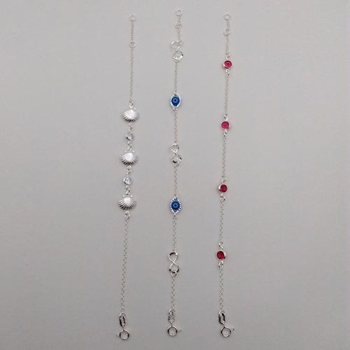 promoção 3 pulseiras feminina prata infinito concha zirconia