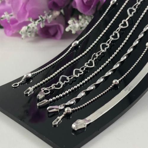 promoção 7 pulseiras prata maciça 925 laminada bolinha elo