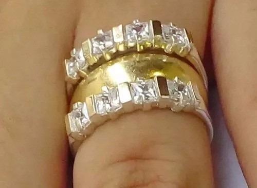 promoção anel aparador aliança prata 950 pura ouro puro 2 pç