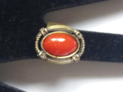 promoção anel dourado  oval pedra vermelha tamanho regulável