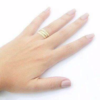promoção anel feminino aparador face fosca em ouro 18k 750