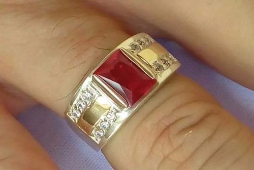 promoção anel masculino prata 950 maciça e apliques em ouro