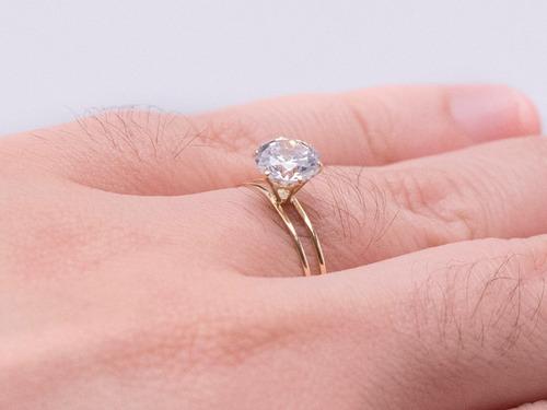 promoção anel solitário ouro 18k zircônia debutante noivado