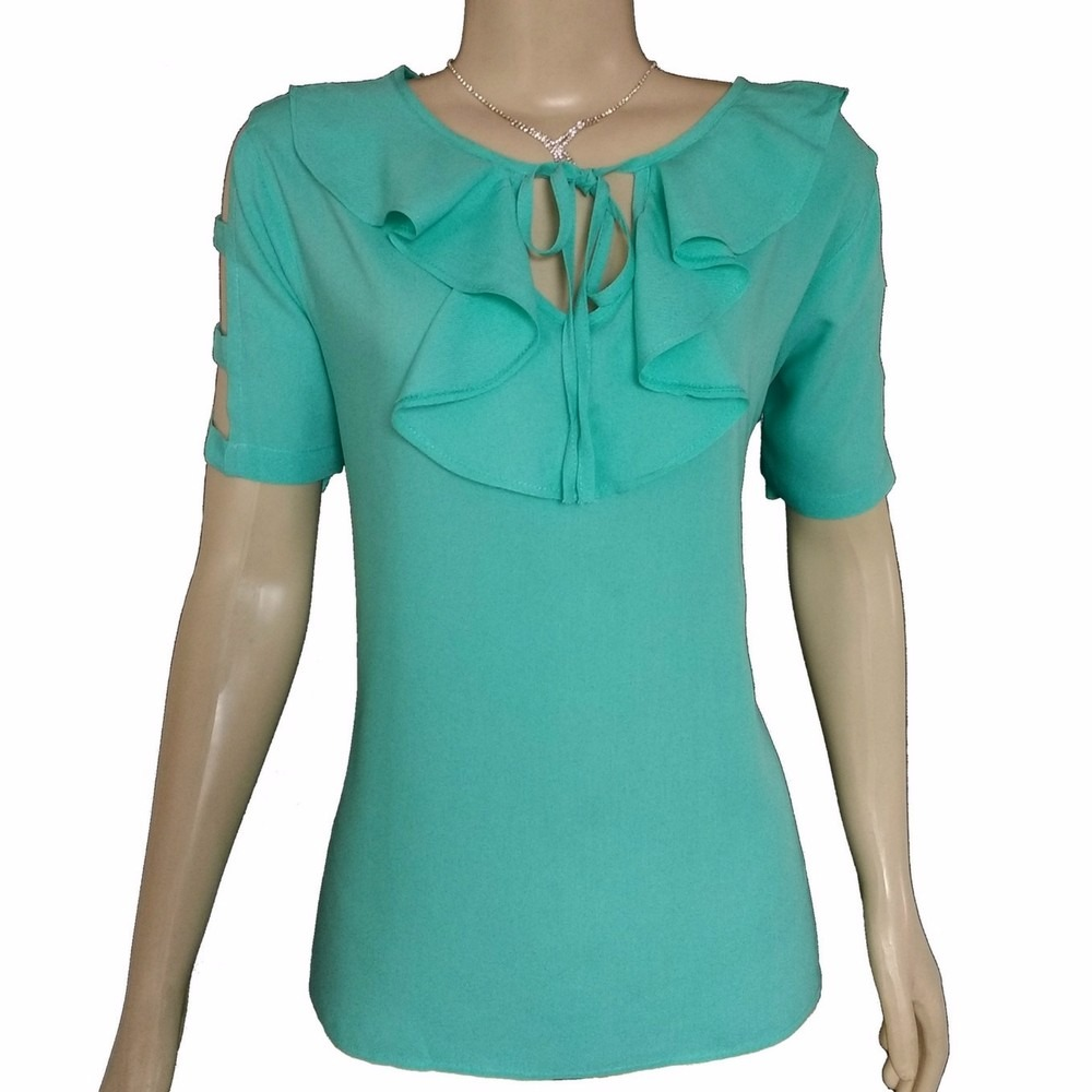 promoção blusa feminina viscose manga curta recorte ombro. Carregando zoom. 952611a9a5e