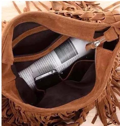 promoção! bolsa de franja em couro camurça - pronta entrega