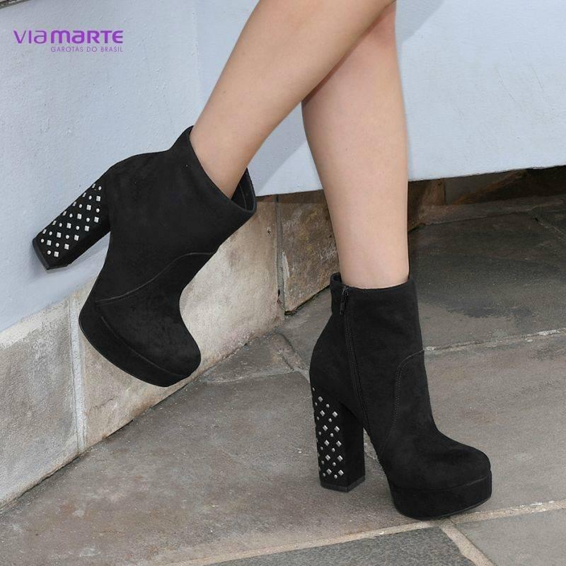 f2b4b1d5c promoção bota ankle boot feminino via marte 18-6355 preto. Carregando zoom.
