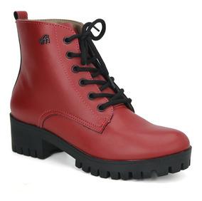 cfcc3a2fe Bota Coturno Via Marte Vermelha - Sapatos com o Melhores Preços no Mercado  Livre Brasil