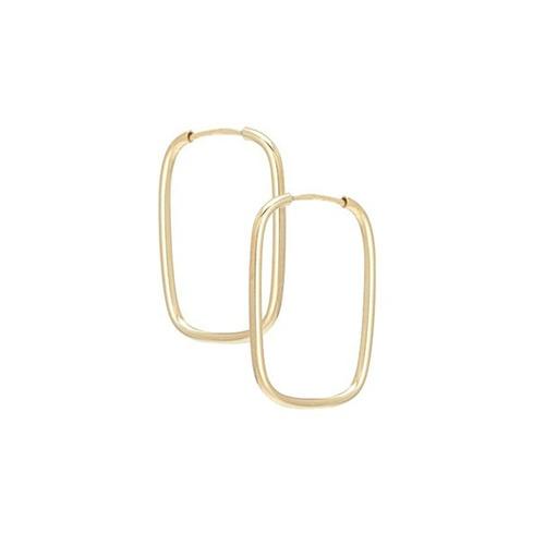 promoção brinco argola ouro 18k 750 retangular+ frete grátis