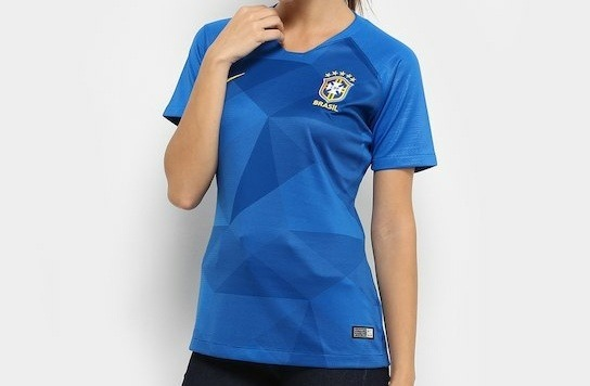 Promoção Camisa Copa 2018 Feminina Azul Seleção Brasileira - R  124 ... 588b7fc211290