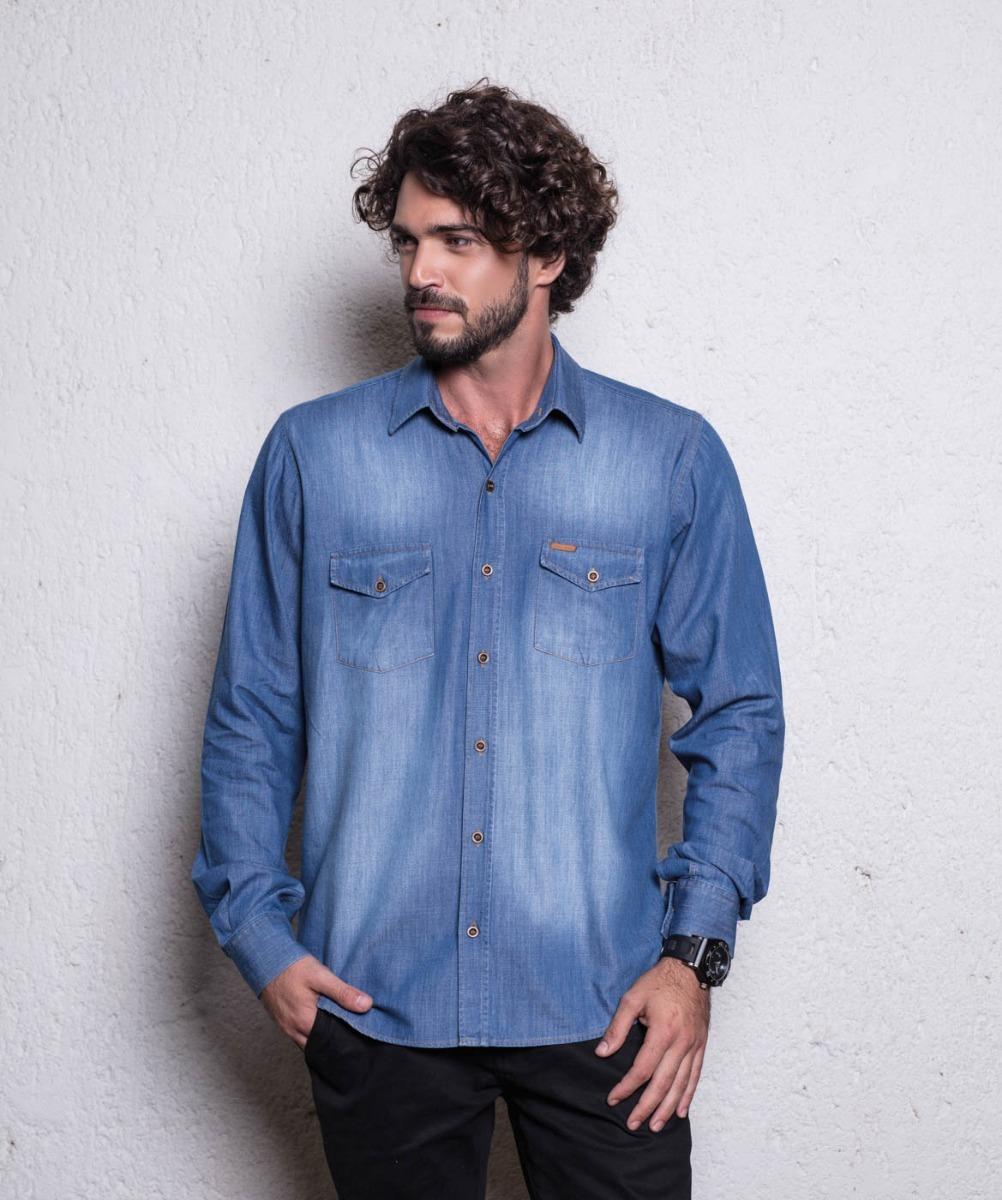 fcaf6ac0d6 promoção camisa jeans masculina premium plus size gg ao egg. Carregando  zoom.