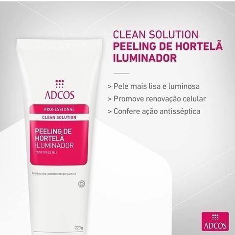 promoção : clean solution peeling de hortelã iluminador 220g
