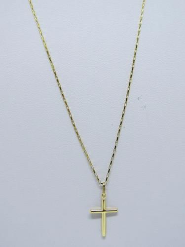 promoção cordão corrente masculina 60cm + crucifixo ouro 18k