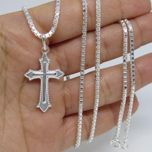 promoção corrente masculina 80cm pingente crucifixo prata925