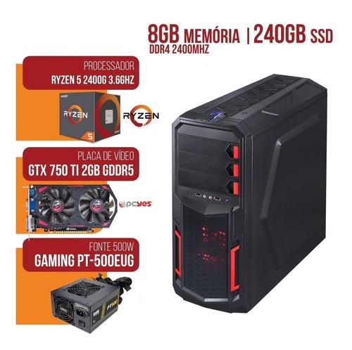 promoção cpu gamer amd ryzen 5 2400g 3.6ghz mem. 8gb ssd 240gb gtx 750ti 2gb fonte 500w reais wi-fi