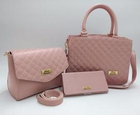 ba9518104 Kit Com 3 Bolsas Femininas - Bolsas de Couro sintético Femininas com ...