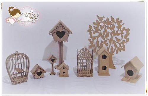 promoção kit 9 peças mdf cru provençal passarinhos gaiolas