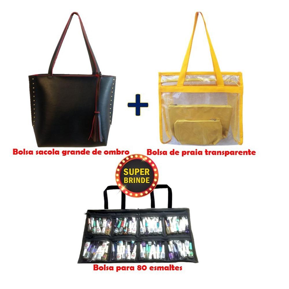 d0ca8a7c5 Promoção Kit Bolsas Feminina + Bolsa De Praia + Manicure - R$ 189,90 ...