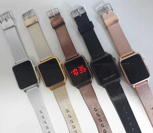 promoção kit com 7 relógios quadrados de touch digital