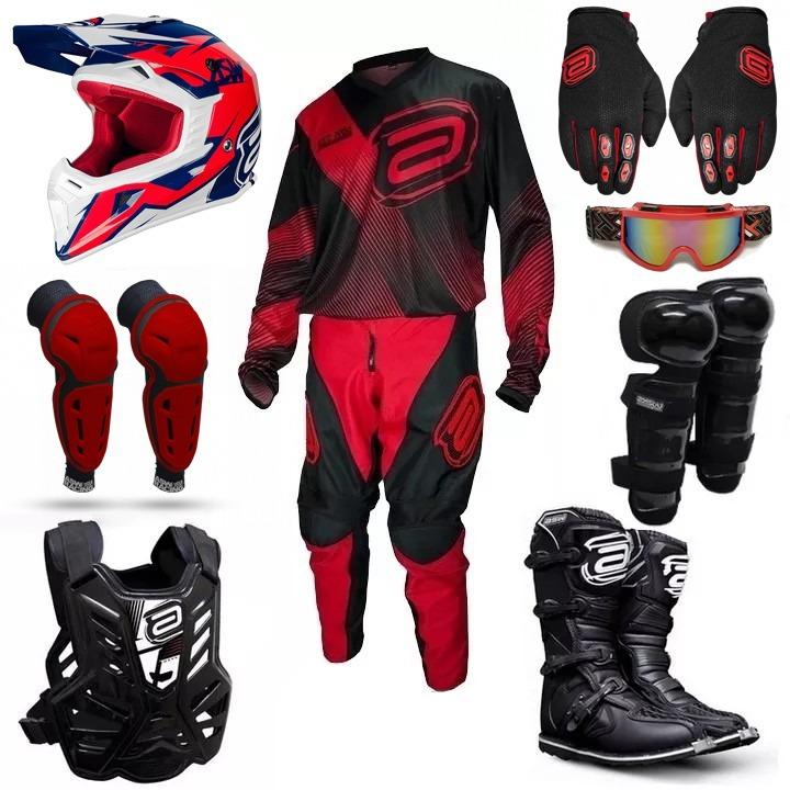 Promoção Kit Equipamento Completo Asw Vermelho 19 Motocross - R  1.790 93c79e017ea32