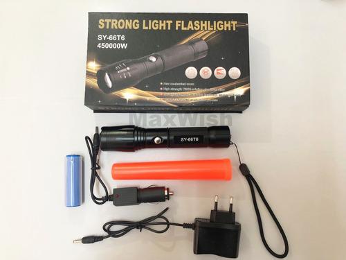 promoção ! lanterna led tatica sy t6 flashlight recarregável