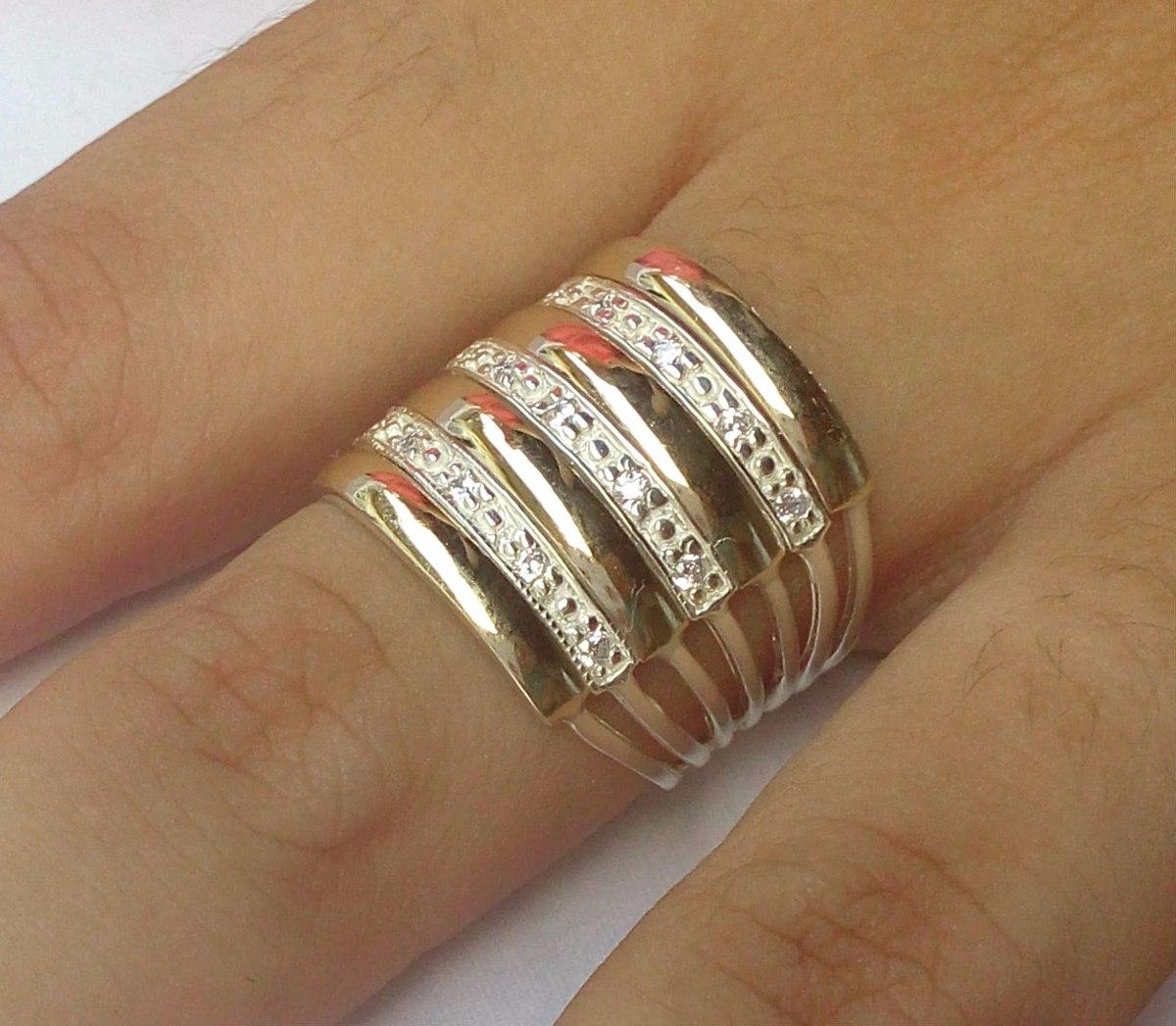 12b6223dd9e5e promoção lindo anel 7 elos em prata 950 e ouro zircônia. Carregando zoom.