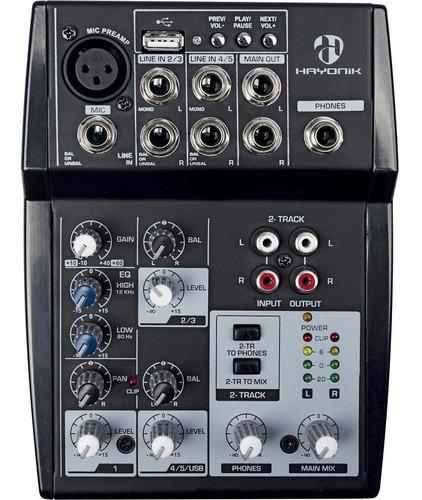 promoção! mesa de som 5 canais hmx-105 hayonik usb bivolt