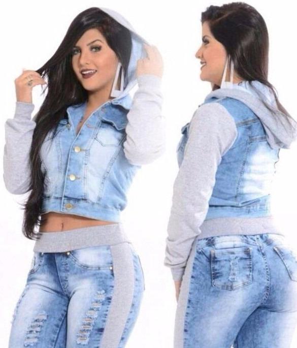 c19479234 Promoção Outono Inverno Conjunto Jeans/moleton Calça+jaqueta - R ...