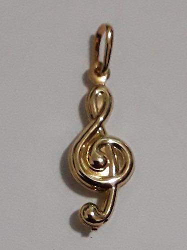 promoção: pingente clave de sol 20mm (2cm) ginoclave pauta música partitura folheado a ouro 18k nfe