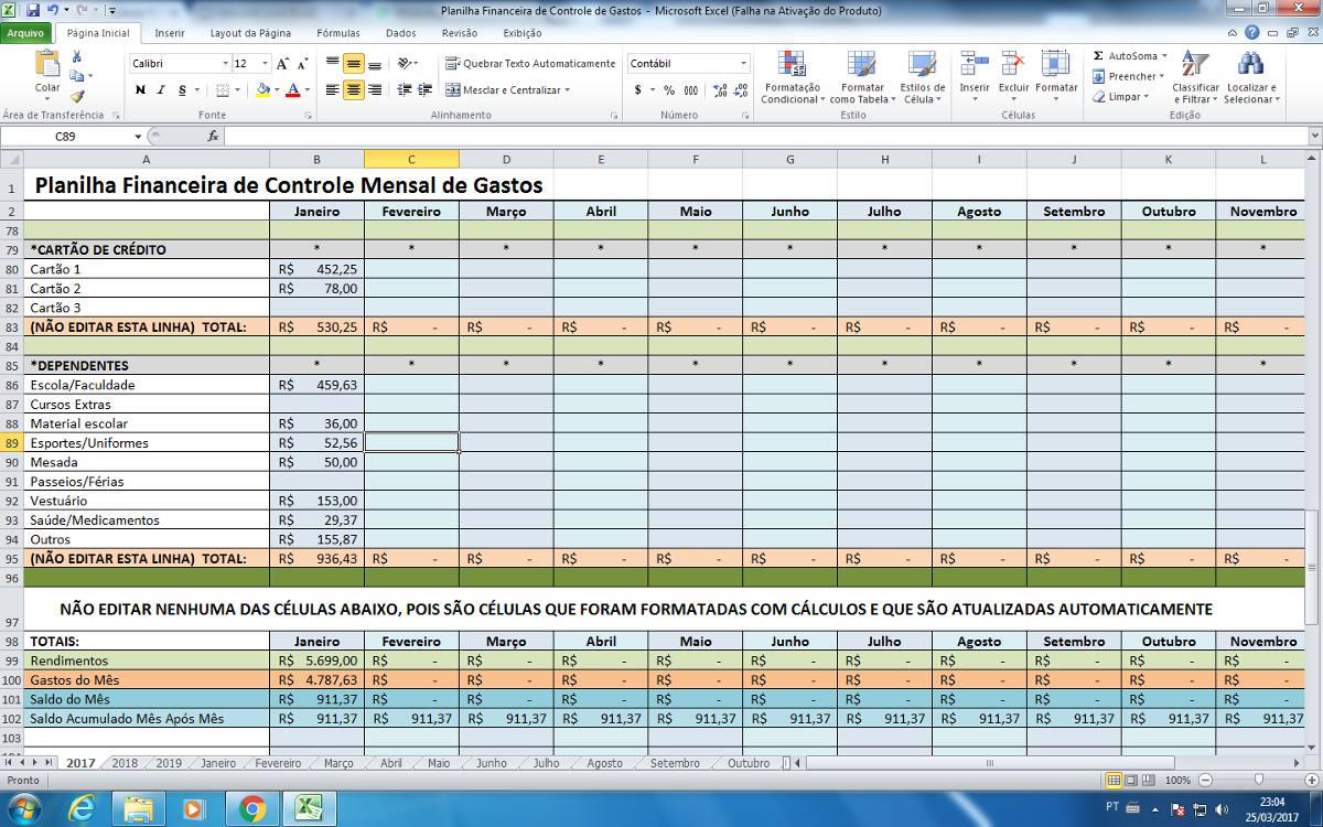 Promoção Planilha Controle Financeiro Gastos Mensal E Diário