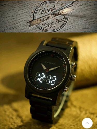 promoção relógio bobo bird original madeira funcional estojo