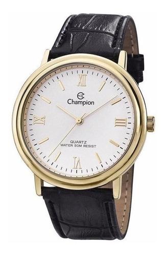 promoção relógio champion social puls. couro cn20051b +frete